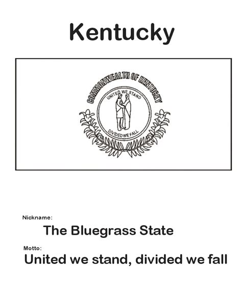 Kentucky State Flag Coloring Page School Teaching Kentucky State Flag Coloring Page