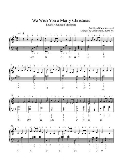merry christmas  traditional piano sheet  advanced level