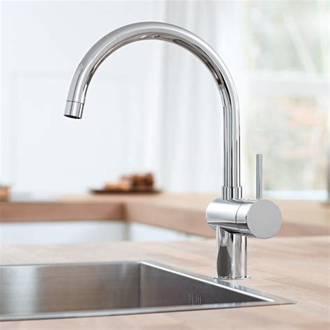 Grohe Kitchen Sink Grohe Minta Monobloc Kitchen Sink Mixer Arched Spout Chrome 32917 000