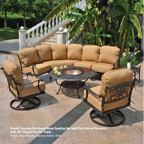patio furniture pit set grand tuscany pit set by hanamint