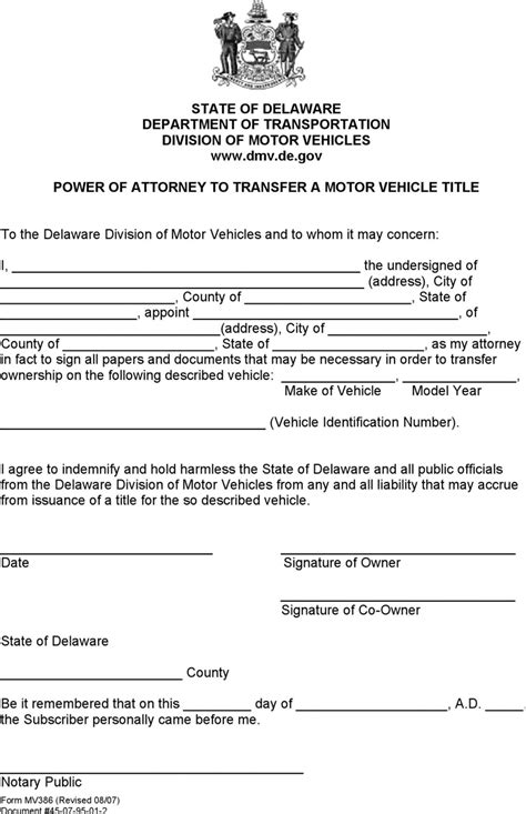 delaware department of motor vehicles delaware power of attorney to transfer a motor