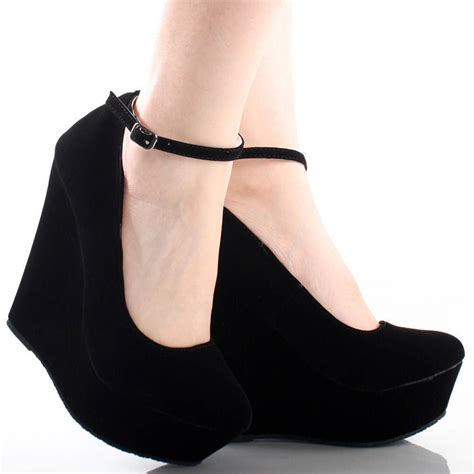 black high heel shoes with ankle mad heel