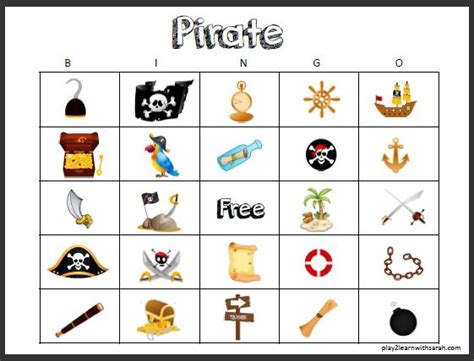 Pirate Bingo Cards Printables pirate activities and thyme