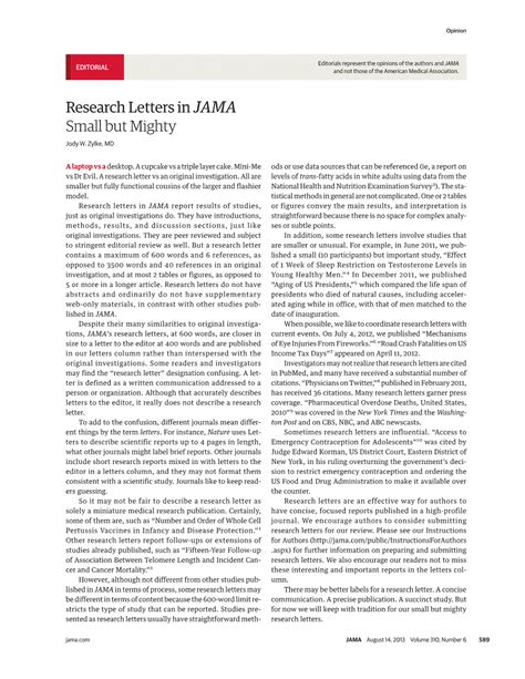 Jama Research Letter Jama Network Jama Research Letters In Jama Small But Mighty