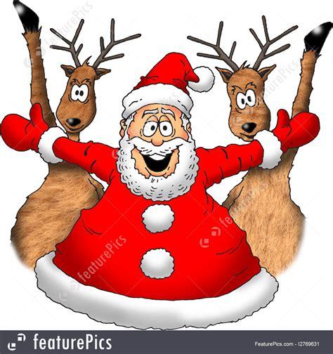 holidays santa  reindeer stock illustration   featurepics