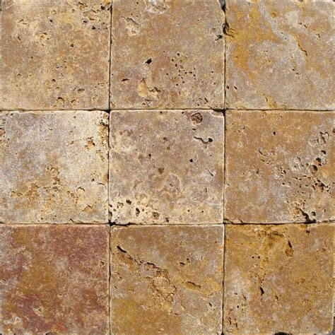 1 ft travertine floor ms international gold 4 in x 4 in tumbled travertine