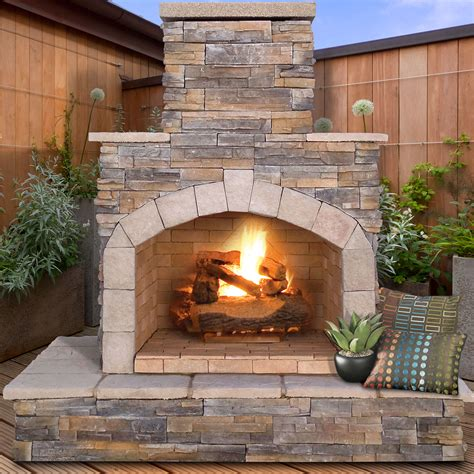 Outside Fireplace by Calflame Propane Gas Outdoor Fireplace