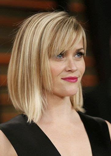 blonde hairstyles side fringe reese witherspoon straight bob with bangs hairstyle
