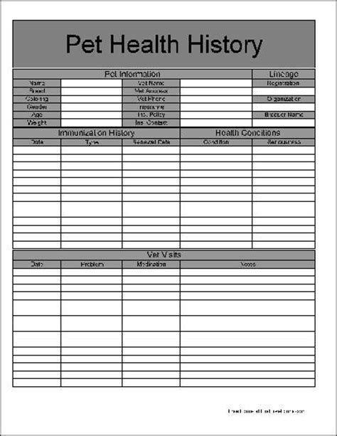pet health record template free basic pet health history