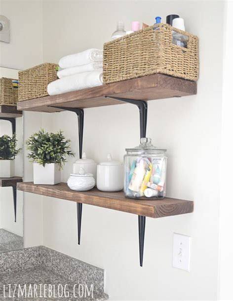 diy rustic wood metal bathroom shelves liz
