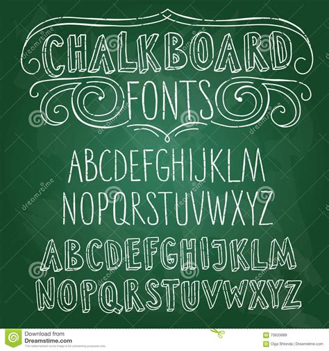 hand drawn chalkboard fonts set stock illustration image