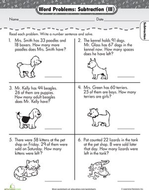 2nd Grade Math Word Problems Worksheets by Word Problems Subtraction Worksheet Education