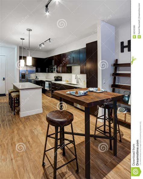 large apartment dining room  kitchen stock photo