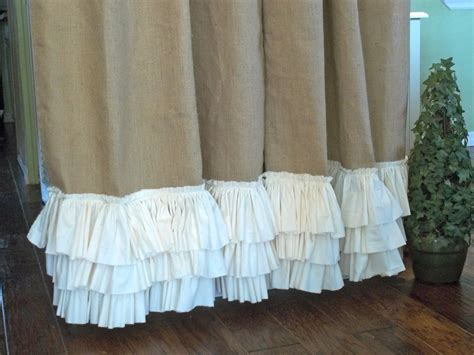 burlap curtain panel ruffled bottom burlap curtain panel
