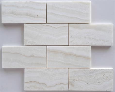 premium white onyx vein cut 3 x 6 subway brick polished tile ebay