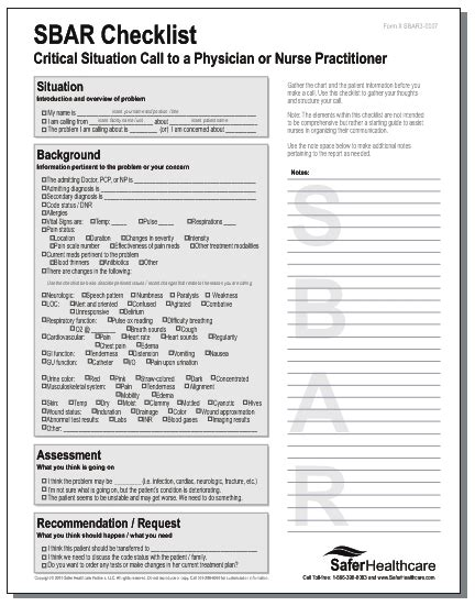 sbar template word sbar to report search nursing