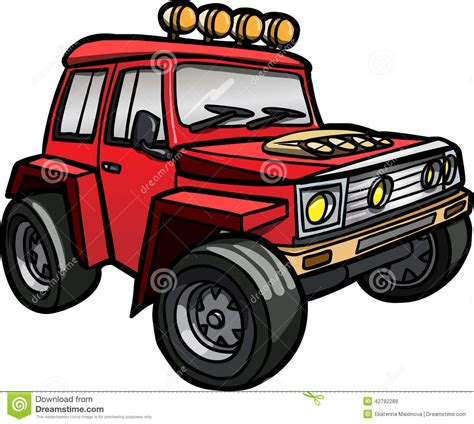 cartoon jeep cartoon red jeep isolated colored stock illustration