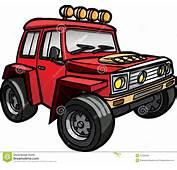 Beeldverhaal Rode Jeep Ge&239soleerde Gekleurd Stock