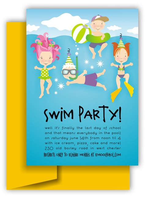 kids birthday party invitations beach pool party fun swimming