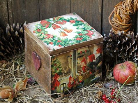 holiday wood storage box ideas decoupage box gift by rusticcraftsbysue rustic crafts