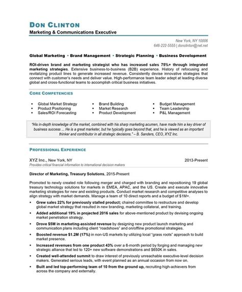 resume sle for marketing marketing director free resume sles blue sky resumes