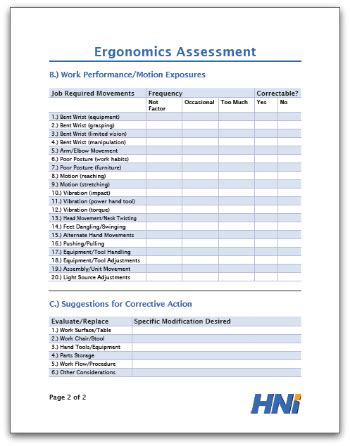 Ergonomics Assessment Template Ergonomic Report Template