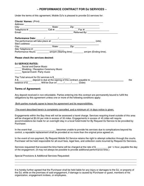 mobile dj contract template mobile dj contract dj service contract 2011 current
