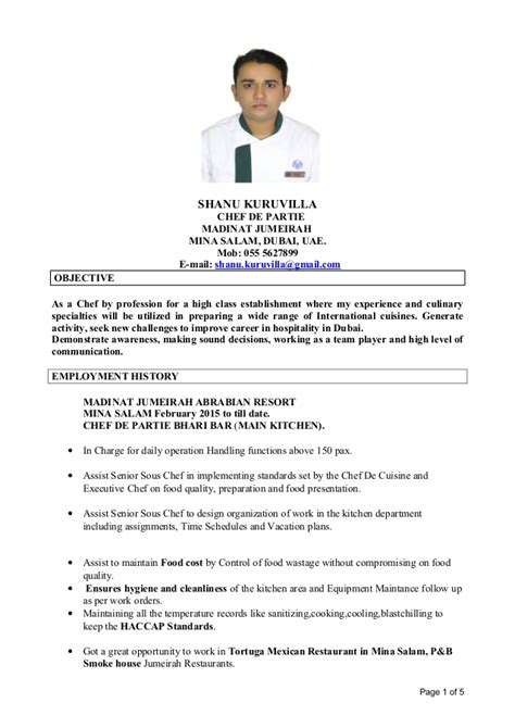 sle of resume for demi chef de partie cv shanu senior chef de partie doc1