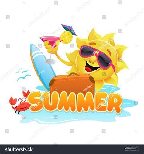 summer themed pictures summer theme stock vector illustration 293610359