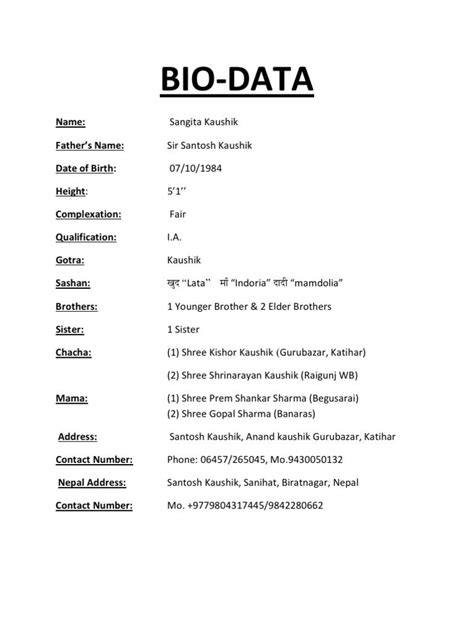 Bio Data Resume Format by Biodata Format Cover Letter Template Free