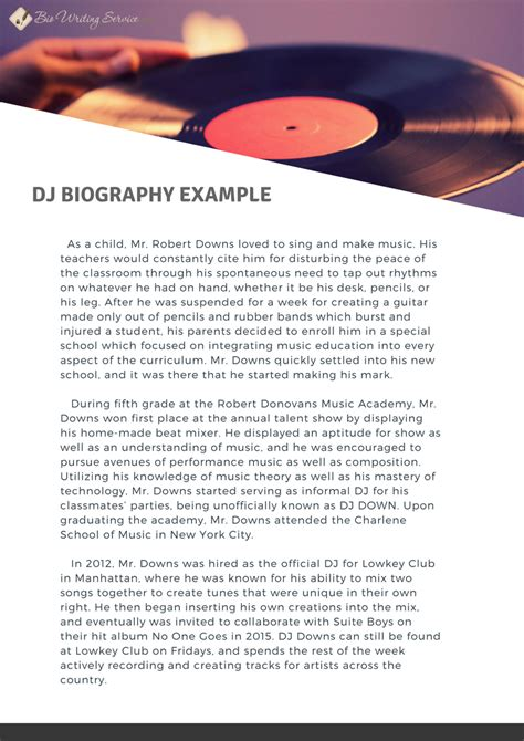 Dj Biography Template by Exclusive Dj Bio Writing Master Tips Bio Writing Service