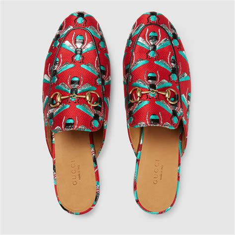 gucci house shoes gucci princetown bee jacquard mules lyst