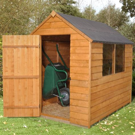 Blooma Plastic Shed by B Q Blooma 7x7 Overlap Wooden Shed With Plastic Roof
