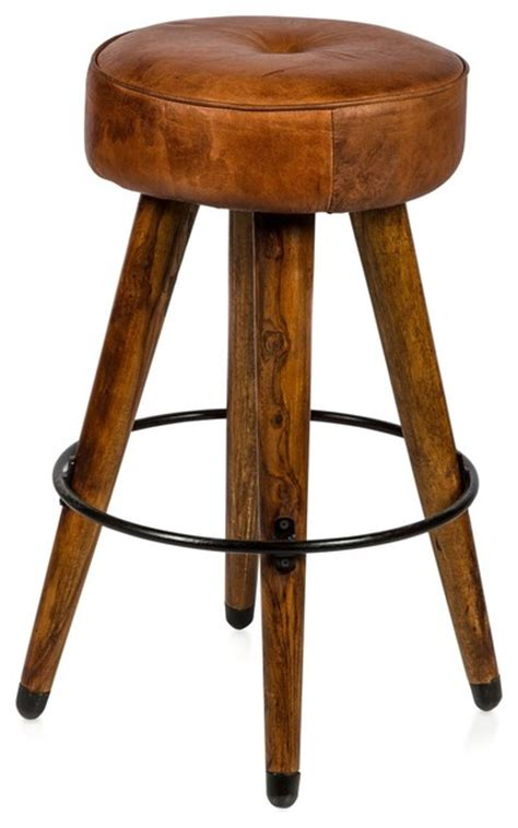 rustic kitchen stools uk retro wood and leather stool
