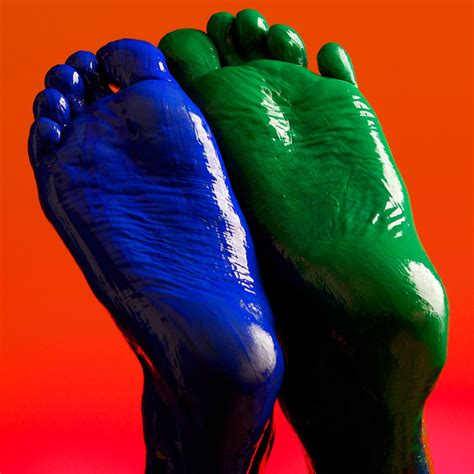 bare feet painted green  blue  shininess