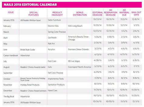 Magazine Editorial Calendar Template