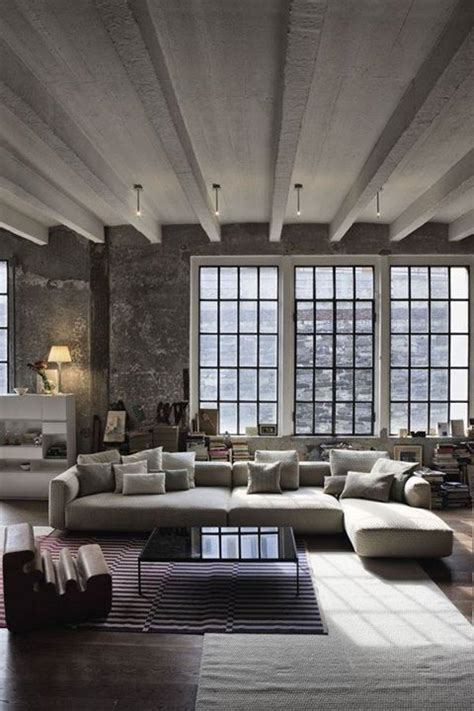loft living room warehouses minimalist style and window on pinterest