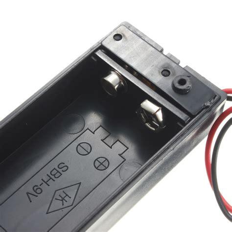 Tempat Batrai 9v Battery Holder Clep 2x 9v battery slot clip holder plastic with on switch lid wires 642610527173 ebay