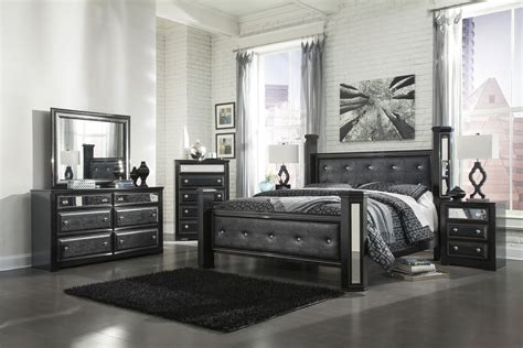 poster bedroom furniture set with leather headboard ashley alamadyre queen upholstered poster bedroom set in