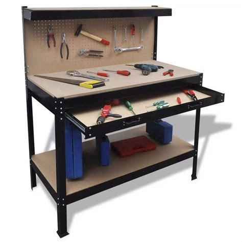 work bench drawers workbench with pegboard and drawer www vidaxl com au
