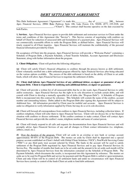 debt settlement agreement template 11 best images of payment settlement agreement form
