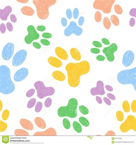 seamless animal pattern vector seamless pattern with doodle dog paws colorful animal