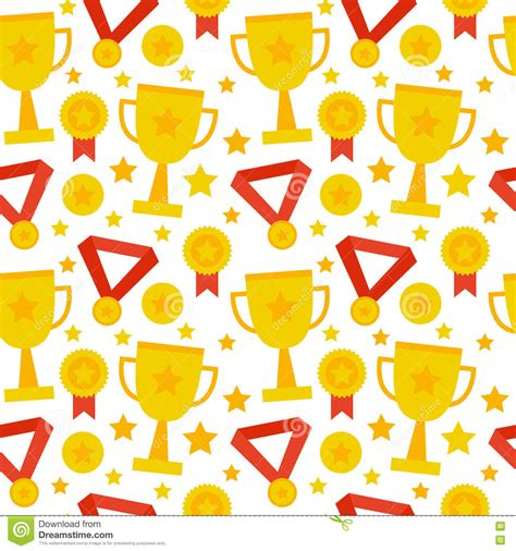 golden pattern award flat seamless pattern sport competition trophy winning