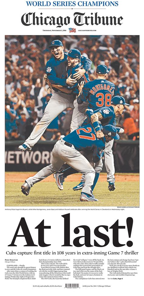 At Last The 6 Best Newspaper Covers On Cubs Winning Best Cover Up Chicago