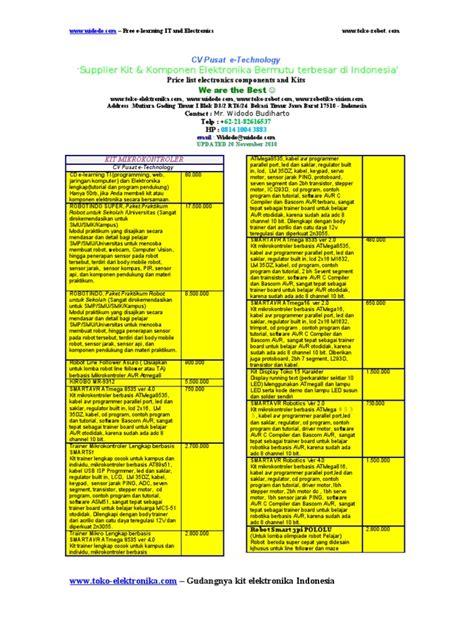 Harga Kit daftar harga kit dan komponen elektronika