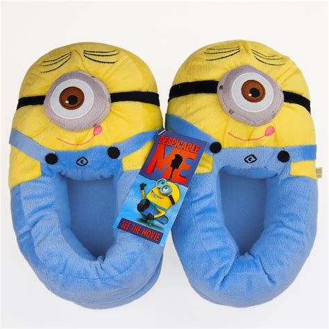 minion house shoes 11 quot despicable me 2 minions 3d eyes slippers plush stuffed shoes hot new ebay