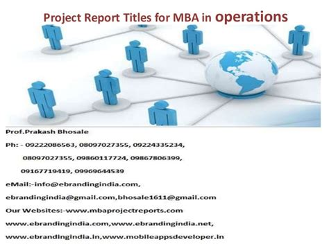 Use Mba In Title by Project Report Titles For Mba In Operations