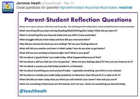 parent student questions a list of reflective questions