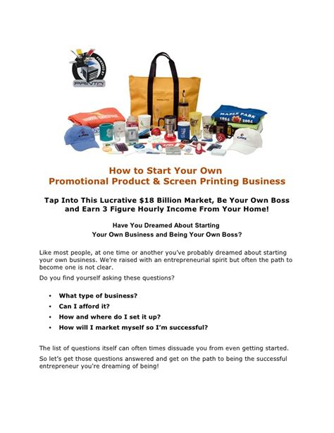 Letter For Printing Business How To Start Your Own Promotional Product Screen Printing Business
