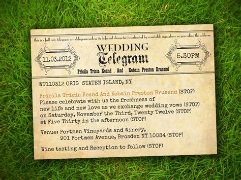 wedding telegram template vintage telegram invitation vintage bells and co